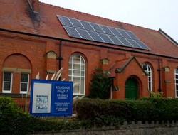 Meeting house with solar panels on the roof
