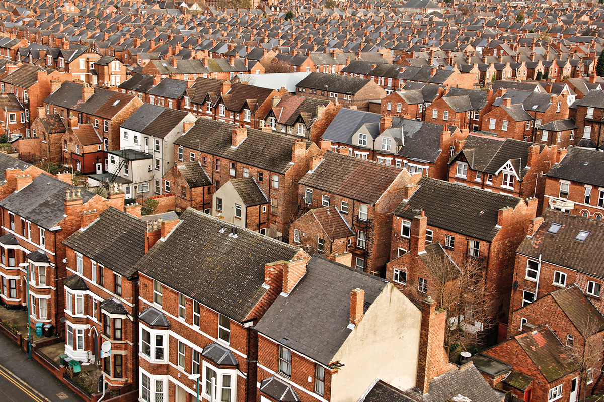 picture shows dozens of terraced Victorian houses
