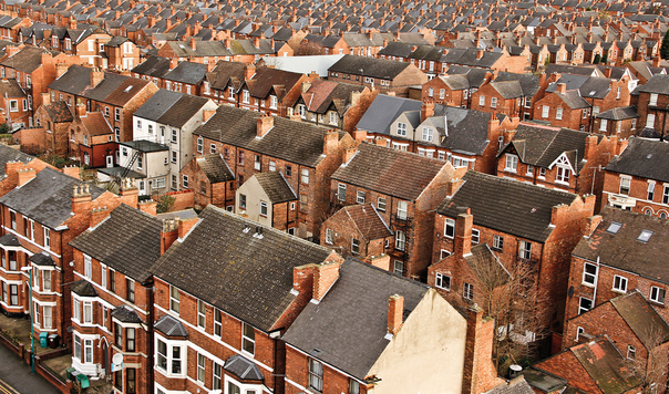 Picture shows terraces of Victorian houses