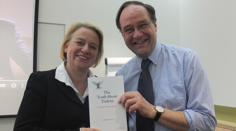 Natalie Bennett with author Tim Wallis and his book
