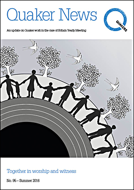 Quaker News 95 with an illustration of people holding hands on the cover