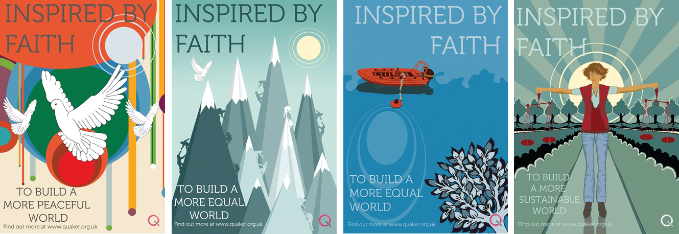 Quaker Week posters 2016: inspired by faith to build a more peaceful, sustainable, equal world.