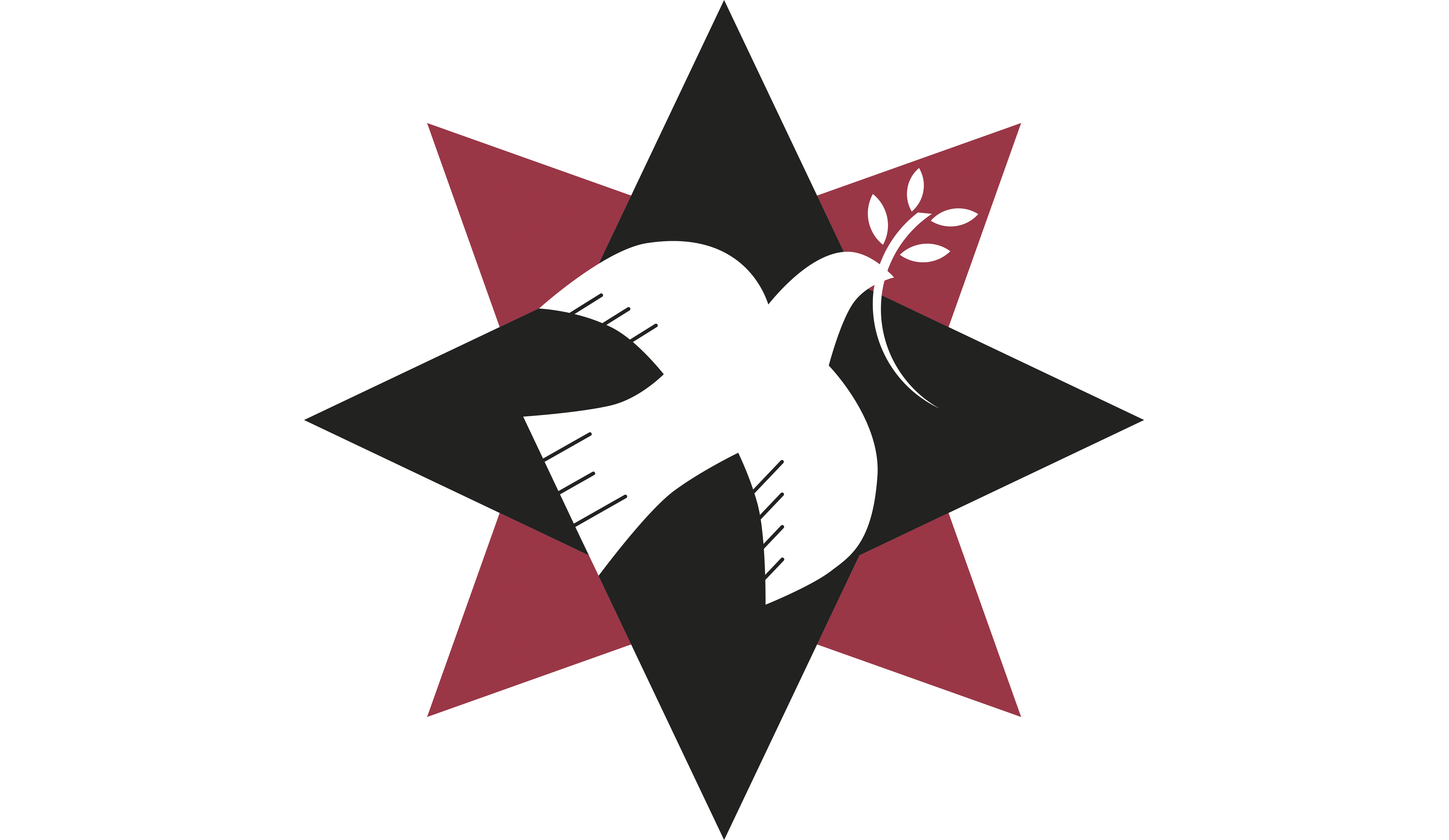 Quaker Peace & Social Witness logo: 8-point star with a dove