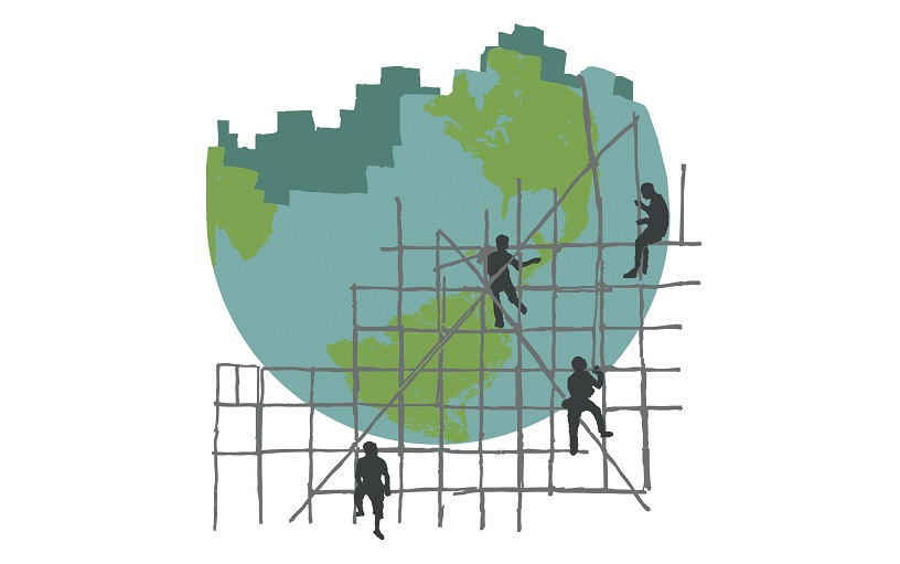 logo of globe under construction surrounded by builders on scaffold
