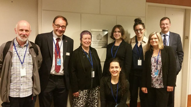 At the UK Mission to the UN: Chair of CND Dave Webb, Tim Wallis, Northern Friends Peace Board representative Janet Fenton, Flavia Tudoreanu, Dagmar Medeiros and Amy Christison from Scottish CND, Peter Prove and Jennifer Philpot-Nissen from World Council of Churches