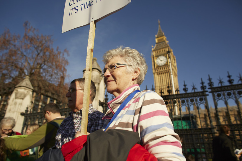 Quakers outside Parliament. Photo: Mike Pinches for Quakers in Britain