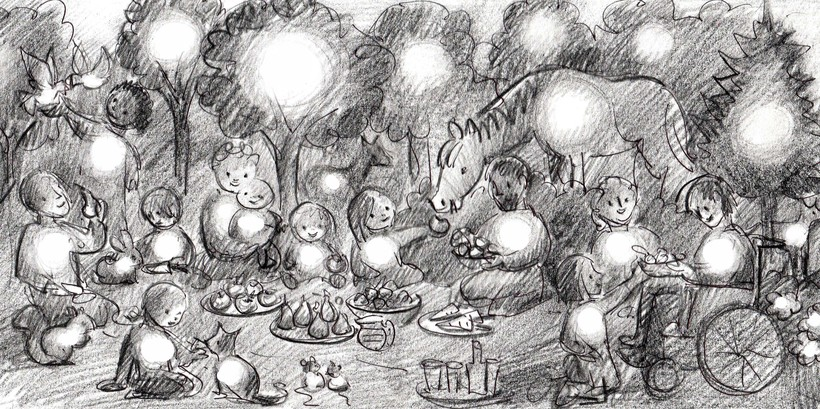 Initial sketch of the picnic scene. Image: Rebecca Price.