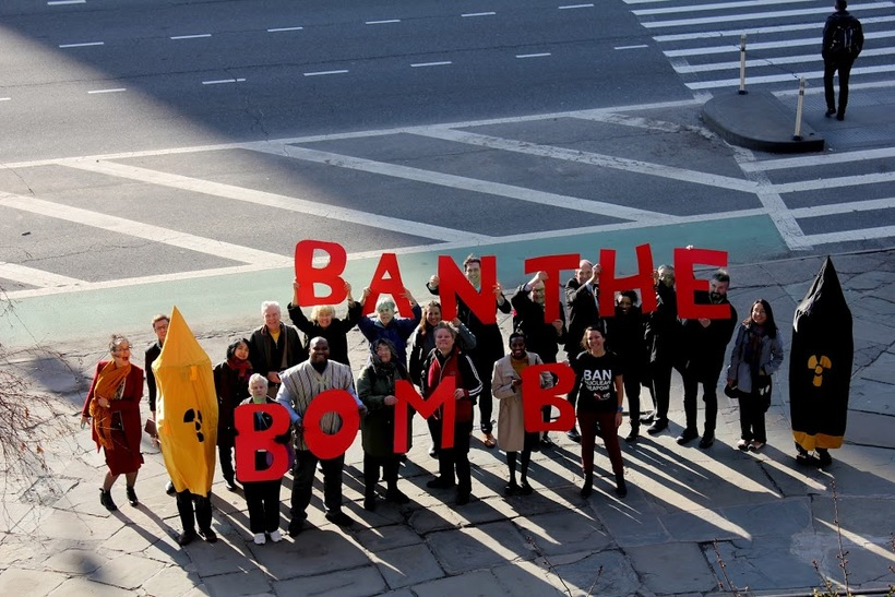 Campaigners outside the UN buildings in New York as treaty negotiations were under way. Photo: Tim Wallis