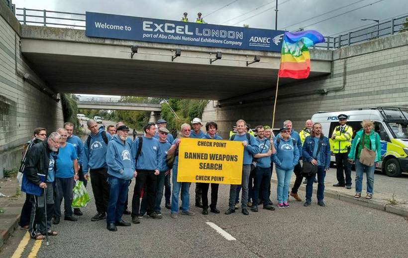 Veterans for Peace checkpoint to search for banned weapons on the road into the DSEI arms fair. Image: Veterans for Peace UK