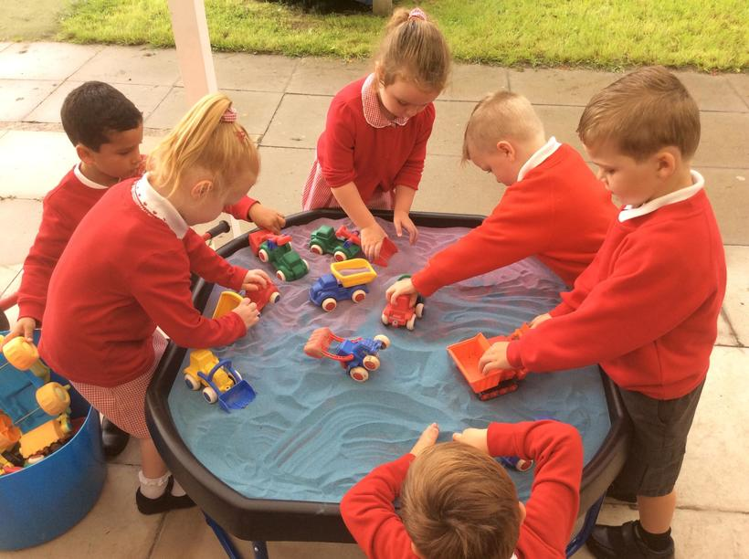 Students at William Penn Primary School play together