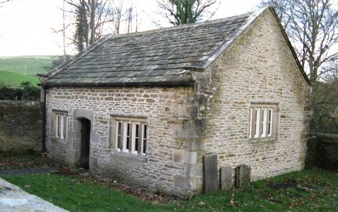 300 years old stone building in countryside