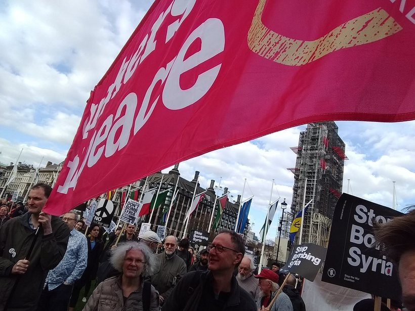 Quakers demonstrating in Parliament Square against bombing Syria. Photo: Ellis Brooks