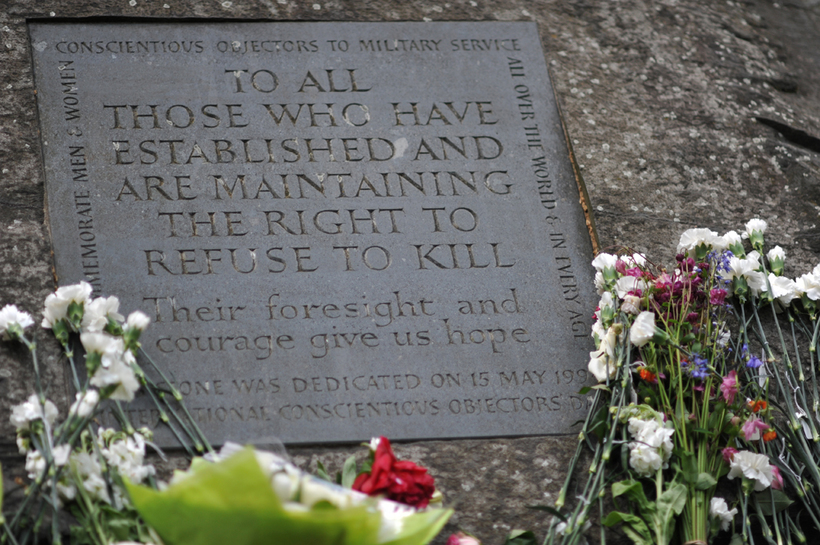 Conscientious objectors' stone in Tavistock Square, London. Image: Michael Preston