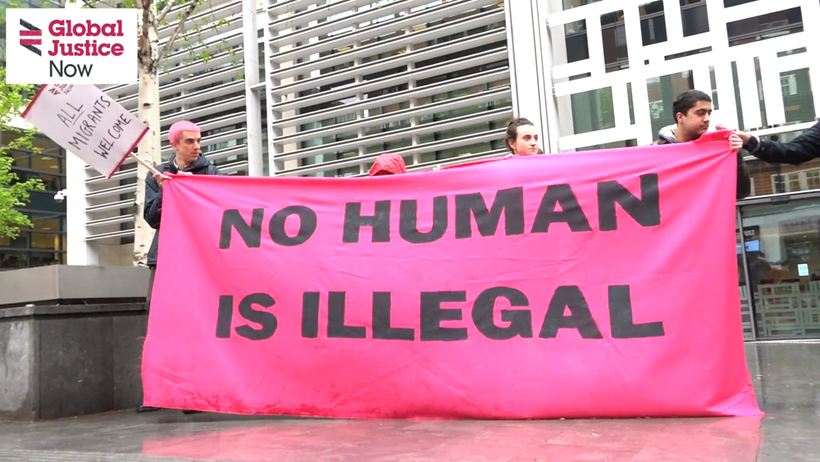 End the hostile environment demo outside the Home Office. Image: Global Justice Now