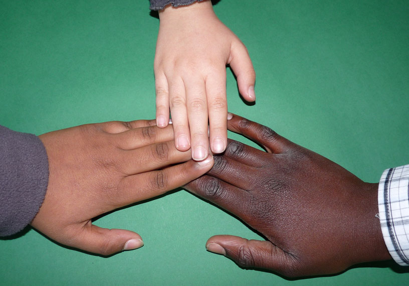 three diverse hands
