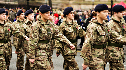 Liverpool University Officer training corps taking part in a Remembrance Day parade.