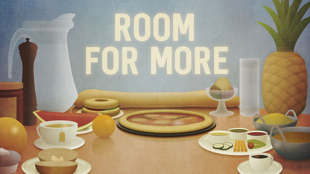Table laid with an empty space. Caption reads 'room for more'.