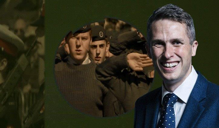 Gavin Williamson and backdrop of military