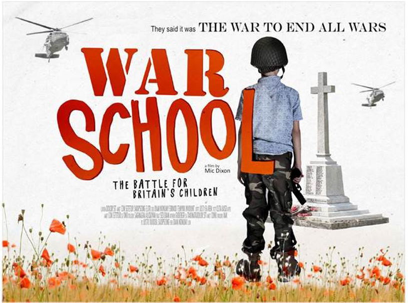 War  School in red letters child with gun