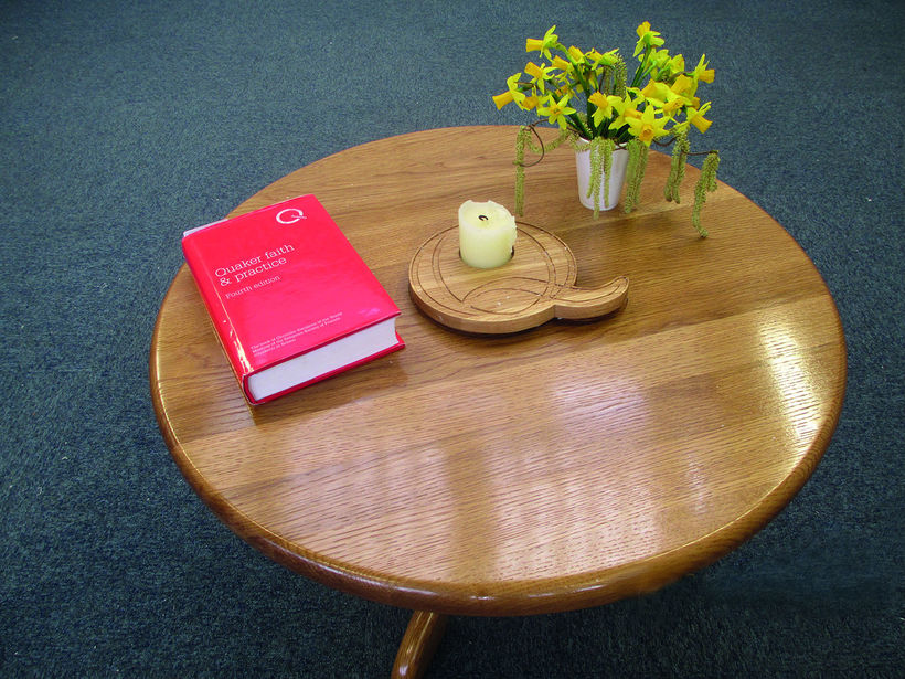 A table made by a Buddhist prisoner for the Quaker-led quiet session at their prison. Image: BYM