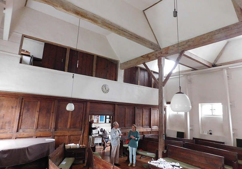 interior meeting house wooden beams