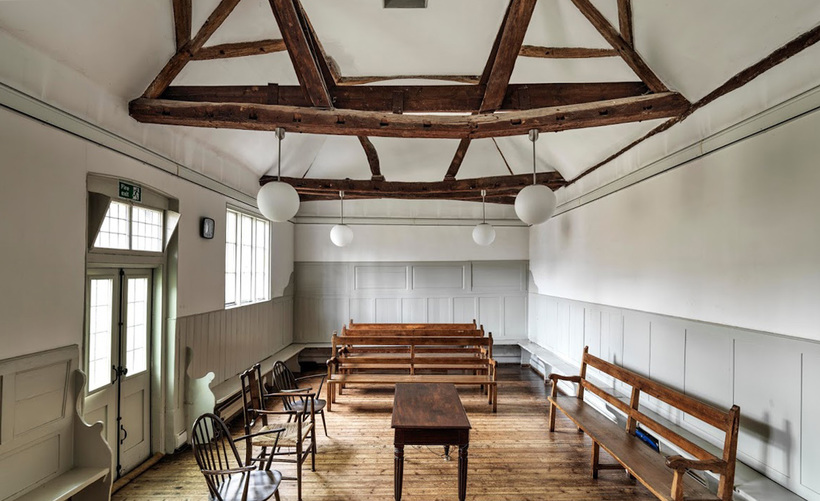 Interior of the Grade II listed Aylesbury Quaker Meeting House in Buckinghamshire, built in 1727. Photo: Historic England Archive