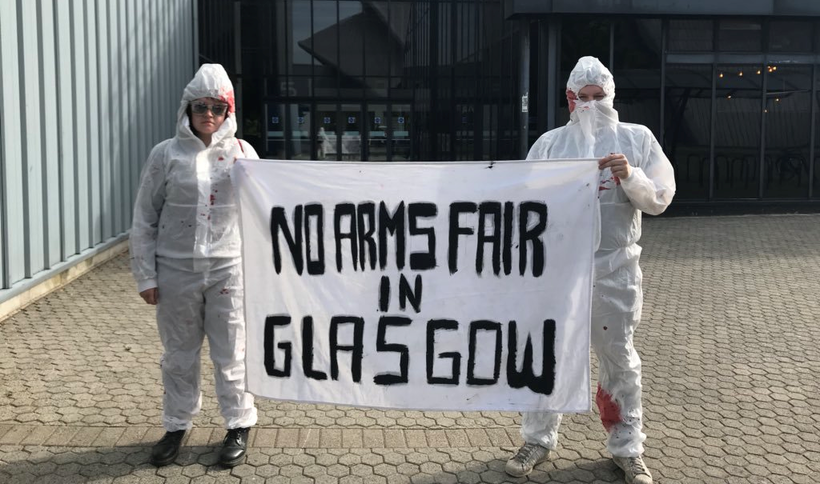 Glasgow City Council agreed not to hold another arms fair after people spoke out against it. Photo: Jay Sutherland/Scotland Against Militarism.