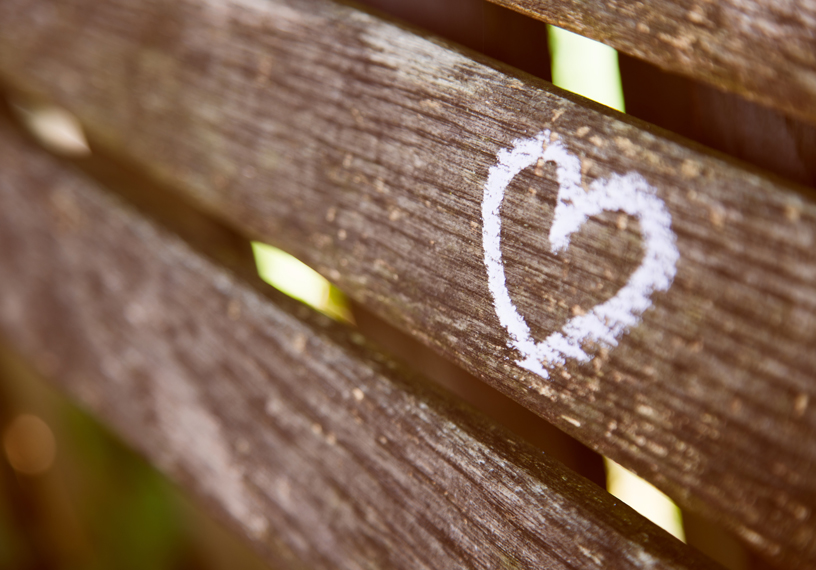 heart carved on wooden bench