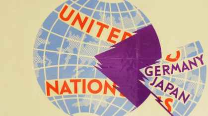 united nations world logo with an empty rip marked Japan and Germany