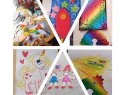 montage of children's craft including drawings of rainbows and unicorns