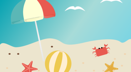 Cartoon drawing of a beach with sea, a beach ball, crabs, starfish and a parsol